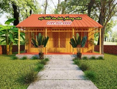 Bản thiết kế 3d nhà tre mái lá