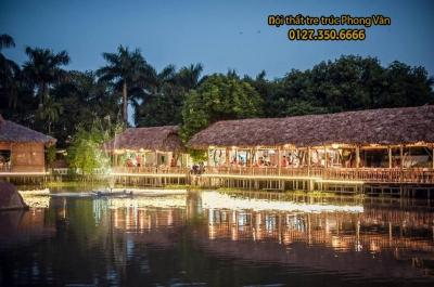 Nhà tre mái lá nhà hàng Bò Tơ Hoàng An